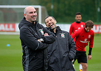 Team psychologist Ian Mitchell and coach Ryland Morgans share a joke during the Wales Training Session at The Vale Resort, Wales, UK. 06 November 2017
