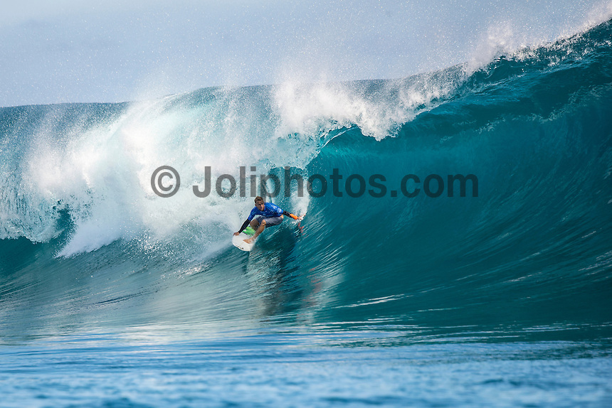 Namotu Island Resort, Nadi, Fiji (Wednesday, June 15 2016):  Josh Kerr (AUS) - The Fiji Pro, stop No. 5 of 11 on the 2016 WSL Championship Tour, was recommenced today at Cloudbreak with a new SSW swell in the 6' plus range. The contest had endured a long spell of layaways due to small conditions but it roared back to life with the new swell which is expected to continue for the rest of the waiting period.<br /> The hat of the day was between Taj Burrow (AUS) who has retired for the pro tour and John John Florence (HAW) who is being tipped as a World Champion this year.<br /> Both surfers were counting two 9 pt plus rides in their scores but it was Florence who scraped through finishing Burrows 18 year career on a high.<br /> Photo: joliphotos.com