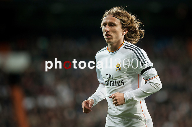 Santiago Bernabeu. Madrid. Spain. 05.02.2014. Football match between Real Madrid and Atletico de Madrid. Luca Modric