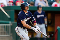 Paulo Orlando (16) of the Northwest Arkansas Naturals watches his hit go past the infield during a game against the Springfield Cardinals at Hammons Field on August 1, 2011 in Springfield, Missouri. Springfield defeated Northwest Arkansas 7-1. (David Welker / Four Seam Images)