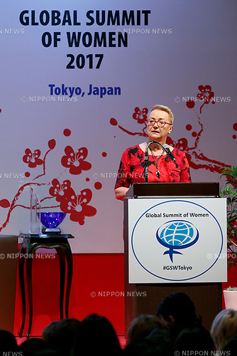 Henryka Bochniarz President of Lewiatan speaks during the 2017 Global Summit of Women on May 11, 2017, Tokyo, Japan. The annual Global Summit of Women is being held in Tokyo for the first time with the objective of empowering Japanese women through the speeches of female leaders' from both the private and public sectors. The event is organized by the Washington-based NPO Globe Women and runs until May 13. (Photo by Rodrigo Reyes Marin/AFLO)
