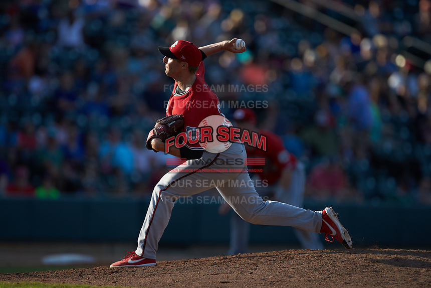 Carolina Mudcats starting pitcher Noah Zavolas (38) in action against the Winston-Salem Dash at BB&T Ballpark on June 1, 2019 in Winston-Salem, North Carolina. The Mudcats defeated the Dash 6-3 in game one of a double header. (Brian Westerholt/Four Seam Images)