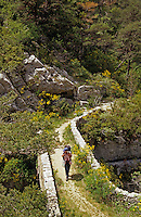 France. Walker on mule track crossing ancient bridge over River Artuby, near the Moulin de Bargeme. Var. GR49.