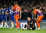 Manchester City's Willy Caballero looks on dejected after Chelsea's Eden Hazard's second goal during the Premier League match at the Stamford Bridge Stadium, London. Picture date: April 5th, 2017. Pic credit should read: David Klein/Sportimage