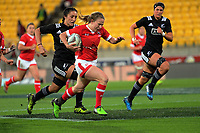 Sarah Goss chases Chelsea Guthrie during the 2017 International Women's Rugby Series rugby match between the NZ Black Ferns and Canada at Westpac Stadium in Wellington, New Zealand on Friday, 9 June 2017. Photo: Dave Lintott / lintottphoto.co.nz