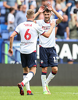 Bolton Wanderers' Will Buckley celebrates after scoring his side's first goal<br /> <br /> Photographer Andrew Kearns/CameraSport<br /> <br /> The EFL Sky Bet Championship - Bolton Wanderers v Bristol City - Saturday August 11th 2018 - University of Bolton Stadium - Bolton<br /> <br /> World Copyright &copy; 2018 CameraSport. All rights reserved. 43 Linden Ave. Countesthorpe. Leicester. England. LE8 5PG - Tel: +44 (0) 116 277 4147 - admin@camerasport.com - www.camerasport.com