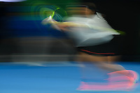 January 27, 2017: A slow shutter image showing Rafael Nadal of Spain in action in a semifinals match against Grigor Dimitrov of Bulgaria on day 12 of the 2017 Australian Open Grand Slam tennis tournament in Melbourne, Australia. Photo Sydney Low