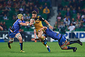 June 3rd 2017, NIB Stadium, Perth, Australia; Super Rugby; Force v Hurricanes;  Beauden Barrett of the Hurricanes looks to break past the defence