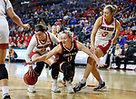 SIOUX FALLS, SD - MARCH 7: Claire Killian #11 of the Omaha Mavericks attempts to steal the ball from Liv Korngable #2 of the South Dakota Coyotes at the 2020 Summit League Basketball Championship in Sioux Falls, SD. (Photo by Richard Carlson/Inertia)