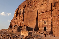 Corinthian tomb on left and Silk tomb on right, Royal tombs, 1st century AD, Petra, Ma'an, Jordan. These tombs were carved by the Nabateans for their Kings in the face of Jabal al-Khubtha, the mountain overlooking Petra on the East. Petra was the capital and royal city of the Nabateans, Arabic desert nomads. Picture by Manuel Cohen