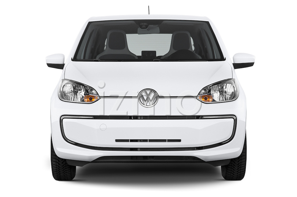 Car photography straight front view of a 2014 Volkswagen up! e-up! 5 Door Hatchback 2WD Front View