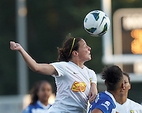Western New York Flash midfielder Sarah Huffman (14) battles for head ball.  In a National Women's Soccer League (NWSL) match, Boston Breakers (blue) tied Western New York Flash (white), 2-2, at Dilboy Stadium on August 3, 2013.