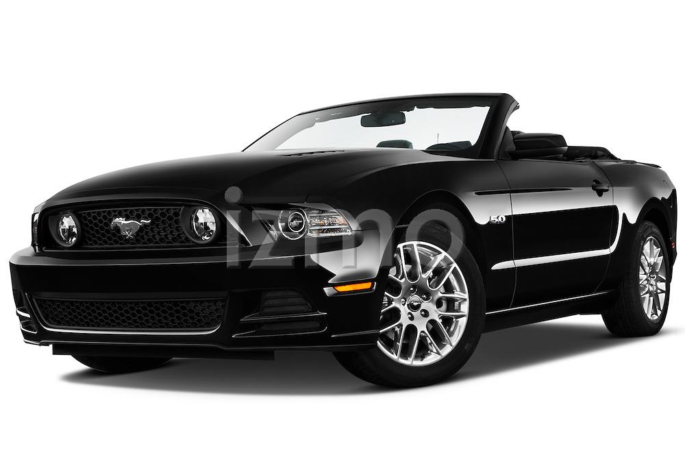 Low aggressive front three quarter view of a .  2013 Ford Mustang GT Premium Convertible
