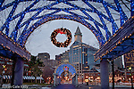 Christmas lights at Waterfront Park in Boston, MA