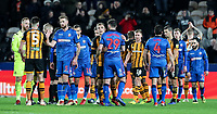 Players from both teams shake hands at the end of the match<br /> <br /> Photographer Andrew Kearns/CameraSport<br /> <br /> The EFL Sky Bet Championship - Hull City v Bolton Wanderers - Tuesday 1st January 2019 - KC Stadium - Hull<br /> <br /> World Copyright © 2019 CameraSport. All rights reserved. 43 Linden Ave. Countesthorpe. Leicester. England. LE8 5PG - Tel: +44 (0) 116 277 4147 - admin@camerasport.com - www.camerasport.com