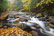 Harvard Brook in the White Mountains, New Hampshire USA during the autumn months. This area was part of the Gordon Pond Railroad era, which was a logging railroad in operation from 1907 - 1916.