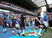 Bolton Wanderers' Craig Noone, Sammy Ameobi, Callum Connolly and Clayton Donaldson take to the pitch<br /> <br /> Photographer Andrew Kearns/CameraSport<br /> <br /> The EFL Sky Bet Championship - Blackburn Rovers v Bolton Wanderers - Monday 22nd April 2019 - Ewood Park - Blackburn<br /> <br /> World Copyright © 2019 CameraSport. All rights reserved. 43 Linden Ave. Countesthorpe. Leicester. England. LE8 5PG - Tel: +44 (0) 116 277 4147 - admin@camerasport.com - www.camerasport.com