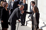 Spain King Juan Carlos I and Spain Queen Sofia greet Spain President Mariano Rajoy while attends the 11M March 11, 2004 terrorist attempt remember mass at Almudena Cathedral in Madrid, Spain. March 11, 2014. (ALTERPHOTOS/Victor Blanco)