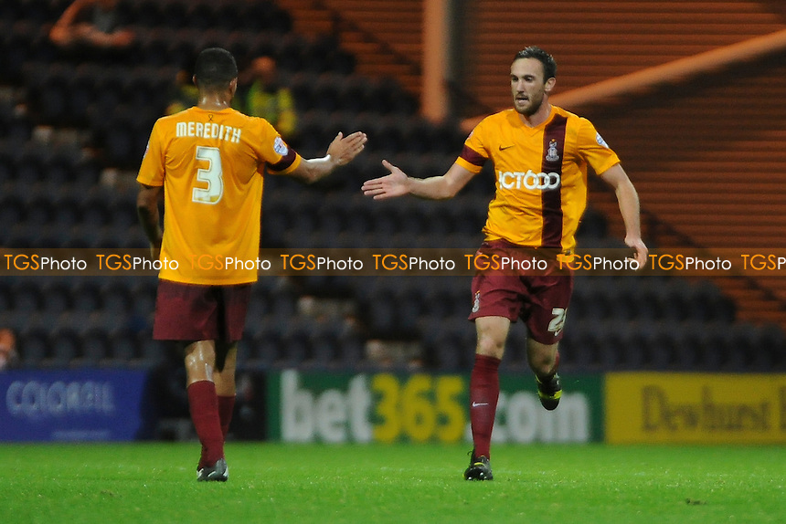 Rory McArdle (right) of Bradford City celebrates the equaliser - Preston North End vs Bradford City - Sky Bet League One Football at Deepdale, Preston, Lancashire - 22/10/13 - MANDATORY CREDIT: Greig Bertram/TGSPHOTO - Self billing applies where appropriate - 0845 094 6026 - contact@tgsphoto.co.uk - NO UNPAID USE