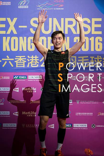 Angus Ng Ka Long of Hong Kong celebrates altering defeating Sameer Verma of India during their Men's Singles Final of YONEX-SUNRISE Hong Kong Open Badminton Championships 2016 at the Hong Kong Coliseum on 27 November 2016 in Hong Kong, China. Photo by Marcio Rodrigo Machado / Power Sport Images