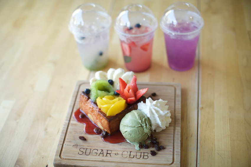 Queens, NY - August 9, 2017: Sugar Club, serving over the top Thai desserts in Elmhurst. A stop on a tour of Queens food vendors curated by Joe DiStefano to serve at The Meadows Festival in September. <br /> <br /> <br /> Credit: Clay Williams.<br /> <br /> &copy; Clay Williams / http://claywilliamsphoto.com
