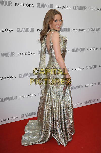 Kylie Minogue.The Glamour Women Of The Year Awards 2012, Berkeley Square Gardens, Berkeley Square, London, England..May 29th, 2012.full length gold silver sleeveless dress sparkly side .CAP/PL.©Phil Loftus/Capital Pictures.