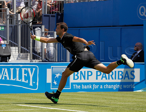 June 19th 2017, Queens Club, West Kensington, London; Aegon Tennis Championships, Day 1; Number six seed Grigor Dimitrov (BUL) in action during his first round singles match against Ryan Harrison (USA); Dimitrov won in straight sets