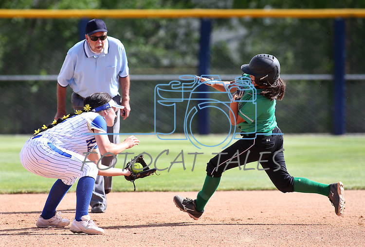 Rancho's Lili Gutierrez gets tagged out by Reed's Kenzi Goins during NIAA DI softball action at the University of Nevada, in Reno, Nev., on Thursday, May 19, 2016. Reed won 2-0. Cathleen Allison/Las Vegas Review-Journal