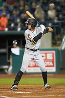 Brett Pope (6) of the West Virginia Power at bat against the Greensboro Grasshoppers at First National Bank Field on June 1, 2018 in Greensboro, North Carolina. The Grasshoppers defeated the Power 10-3. (Brian Westerholt/Four Seam Images)
