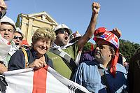 Roma, 20 Ottobre 2012.Piazza San Giovanni.Manifestazione nazionale della CGIL.Il lavoro prima di tutto.La segretaria generale Susanna Camusso con gli operai sardi
