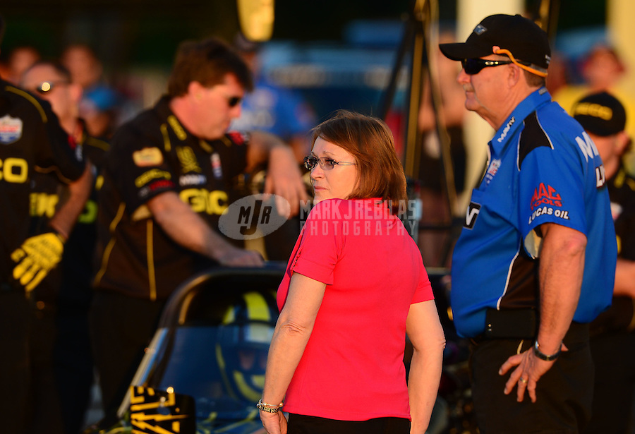 May 4, 2012; Commerce, GA, USA: NHRA crew members for top fuel dragster driver Morgan Lucas during qualifying for the Southern Nationals at Atlanta Dragway. Mandatory Credit: Mark J. Rebilas-