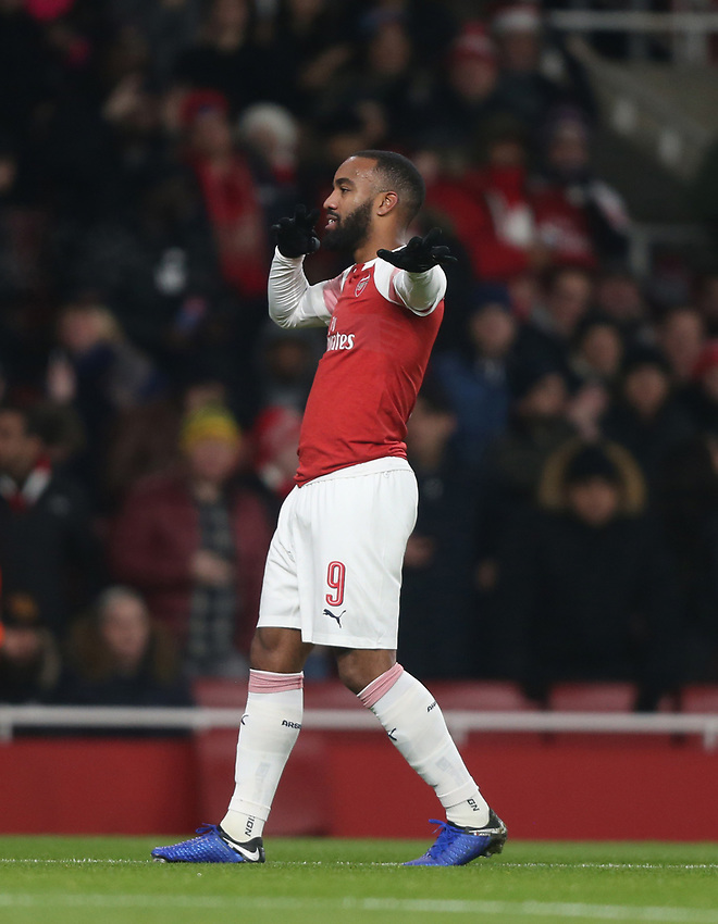 Arsenal's Alexandre Lacazette celebrates scoring his side's first goal <br /> <br /> Photographer Rob Newell/CameraSport<br /> <br /> UEFA Europa League Group E - Arsenal v FK Qarabag - Thursday 13th December 2018 - Emirates Stadium - London<br />  <br /> World Copyright © 2018 CameraSport. All rights reserved. 43 Linden Ave. Countesthorpe. Leicester. England. LE8 5PG - Tel: +44 (0) 116 277 4147 - admin@camerasport.com - www.camerasport.com