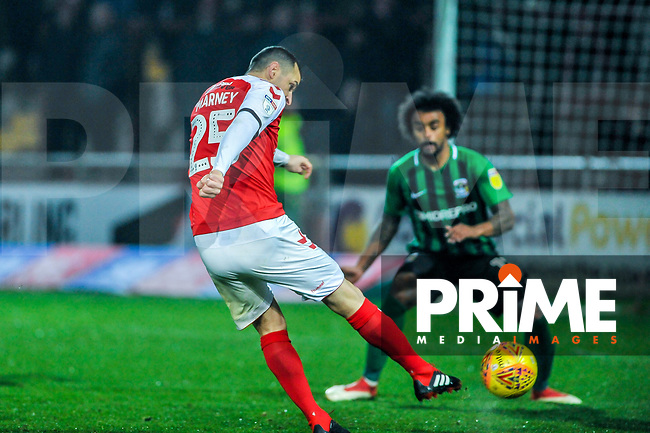 Fleetwood Town's midfielder Dean Marney (25) fires the opener from the edge of the box during the Sky Bet League 1 match between Fleetwood Town and Coventry City at Highbury Stadium, Fleetwood, England on 27 November 2018. Photo by Stephen Buckley / PRiME Media Images.