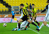 Wellington's Andrija Kaluderovic scores the winner during the A-League football match between Wellington Phoenix and Melbourne Victory at Westpac Stadium in Wellington, New Zealand on Friday, 10 January 2018. Photo: Dave Lintott / lintottphoto.co.nz