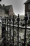 Cobwebs on iron railings in Eye Suffolk England
