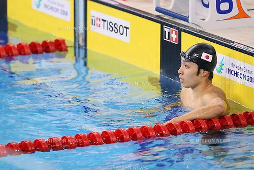 Kosuke Hagino (JPN), <br /> SEPTEMBER 25, 2014 - Swimming : <br /> Men's 200m Backstroke Final <br /> at Munhak Park Tae-hwan Aquatics Center <br /> during the 2014 Incheon Asian Games in Incheon, South Korea. <br /> (Photo by YUTAKA/AFLO SPORT)