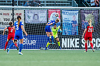 Boston, MA - Sunday September 10, 2017: Natasha Dowie, Adrianna Franch during a regular season National Women's Soccer League (NWSL) match between the Boston Breakers and Portland Thorns FC at Jordan Field.