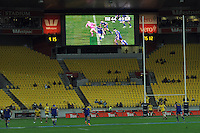 The scoreboard shows 44-49 with less than five minutes left in the game during the Super Rugby match between the Hurricanes and Highlanders at Westpac Stadium, Wellington, New Zealand on Saturday, 6 July 2013. Photo: Dave Lintott / lintottphoto.co.nz