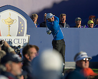26.09.2014. Gleneagles, Auchterarder, Perthshire, Scotland.  The Ryder Cup.  Sergio Garcia (EUR) on the first tee during the Friday Fourballs.
