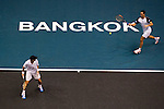 BANGKOK, THAILAND - OCTOBER 03:  Viktor Troicki (L) of Serbia and Christopher Kas of Germany in action on their doubles match against Jonathan Erlich of Israel and Jurgen Melzer of Austria during the Day 9 of the PTT Thailand Open at Impact Arena on October 3, 2010 in Bangkok, Thailand.  Photo by Victor Fraile / The Power of Sport Images