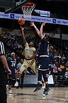 Amber Campbell (2) of the Wake Forest Demon Deacons drives to the basket past Jessica Shepard (23) of the Notre Dame Fighting Irish during first half action at the LJVM Coliseum on December 31, 2017 in Winston-Salem, North Carolina.  The Fighting Irish defeated the Demon Deacons 96-73.  (Brian Westerholt/Sports On Film)
