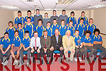 MUNSTER CHAMPIONS: The CBS The Green rugby team winners of the West Munster Senior Cup being presented with the medals by Munster's Mick Galway at the Grand Hotel on Tuesday seated l-r: Jeffery Foley, Jack O'Callaghan, Fergal O'Sullivan, Fionna Fitzgerald (coach), Anthony O'Keeffe (principal), Mick Galway, Shaun Johnston (coach), Owen McGorven, Ultan Dillane and Cian Dillane. Centre l-r: Nathan Murphy, Declan Ryle, Ronan O'Sullivan, Jamie Byrne, Cian Foley, Kieran Costelloe, Patrick Buckley, Chris Dunworth, Paddy O'Callaghan and Robert O'Shea. Back l-r: Ciara?n Deane, T. J. O'Sullivan, Michael Wrenn, Michael Healy, Richard Haymen, Greg Murray, Sean O'Neill and Cian Stuart. .