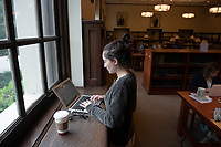 Emma Robitaille '19 works on her final paper for linguistics.<br />