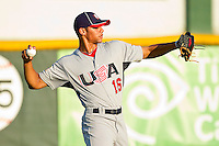 Branden Kline #16 (Virginia) of the USA Baseball Collegiate National Team throws in the outfield prior to the game against the Gastonia Grizzlies at Sims Legion Park on June 30, 2011 in Gastonia, North Carolina.  Team USA defeated the Grizzlies 12-5.  Brian Westerholt / Four Seam Images