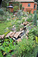 An overview of Dan Johnson's Denver back yard garden shows the slope down from the house to the pond at the lower level.