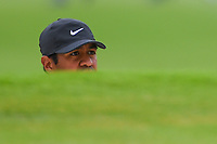 Tony Finau (USA) peaks at the flag from the trap on 2 during round 4 of the 2019 Charles Schwab Challenge, Colonial Country Club, Ft. Worth, Texas,  USA. 5/26/2019.<br /> Picture: Golffile | Ken Murray<br /> <br /> All photo usage must carry mandatory copyright credit (© Golffile | Ken Murray)