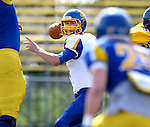 BROOKINGS, SD - APRIL 26:  Quarterback Tyler Finnes #11 from South Dakota State's offense looks for a receiver during their spring game Saturday at Coughlin Alumni Stadium in Brookings. (Photo by Dave Eggen/Inertia)