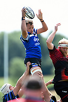 Zach Mercer of Bath Rugby wins the ball at a lineout against the visiting Dragons team. Bath Rugby pre-season training on August 8, 2018 at Farleigh House in Bath, England. Photo by: Patrick Khachfe / Onside Images