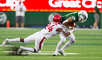 NWA Democrat-Gazette/BEN GOFF @NWABENGOFF<br /> Jarques McClellion, Arkansas cornerback, tackles Olabisi Johnson, Colorado State wide receiver, in the 2nd quarter Saturday, Sept. 8, 2018, at Canvas Stadium in Fort Collins, Colo.