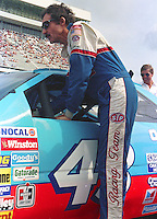 Richard Petty climbs into car qualifying Pepsi 400 at Daytona International Speedway in Daytona beach, FL on July 1, 1989. (Photo by Brian Cleary/www.bcpix.com)